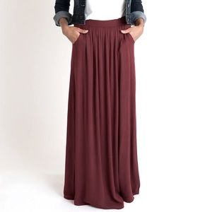 H&M Basic Burgundy Maroon Maxi Long Skirt